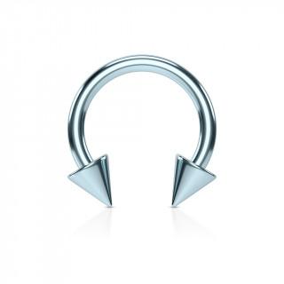 Piercing fer à cheval bleu clair IP à pointes