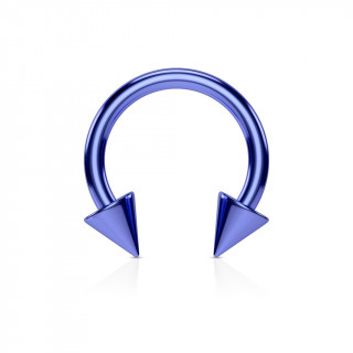 Piercing fer à cheval bleu IP à pointes