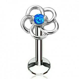 Piercing fleur en boucles à Opale bleue (lèvre, cartilage)