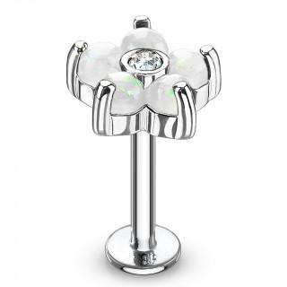 Piercing fleur à 6 pétales d'opale blanche  (lèvre, cartilage...)