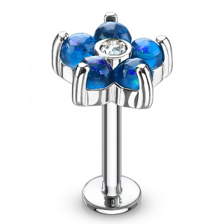 Piercing fleur à 6 pétales d'opale bleue (lèvre, cartilage...)