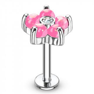 Piercing fleur à 6 pétales d'opale rose  (lèvre, cartilage...)