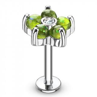 Piercing fleur à 6 pétales d'opale verte (lèvre, cartilage...)