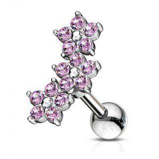 Piercing hélix à trio de fleurs de cristaux - Rose