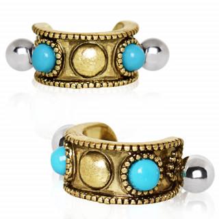 Piercing helix antique à perles de turquoise