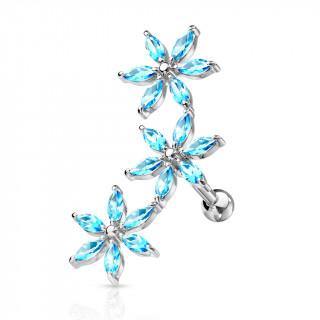 Piercing hélix arqué à fleurs strass - Bleu aqua