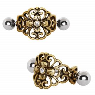 Piercing hélix à bouclier floral style antique
