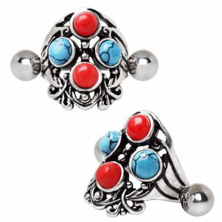 Piercing helix bouclier à perles rouges et turquoises