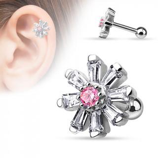 Piercing hélix / cartilage à fleur multi-strass claire et rose