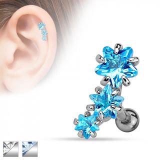 Piercing helix / cartilage à trio d'étoiles strass