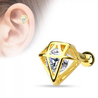 Piercing hélix / cartilage plaqué or à cage en forme de diamant