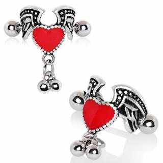Piercing hélix à coeur emaillé rouge ailé