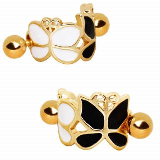 Piercing hélix doré à papillons noir et blanc