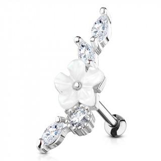 Piercing hélix à fleur blanche nacrée