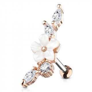 Piercing hélix à fleur blanche nacrée - Cuivré