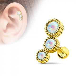 Piercing hélix plaqué or à trio d'opales asymétriques