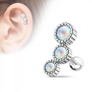 Piercing hélix à trio d'opales asymétriques blanches