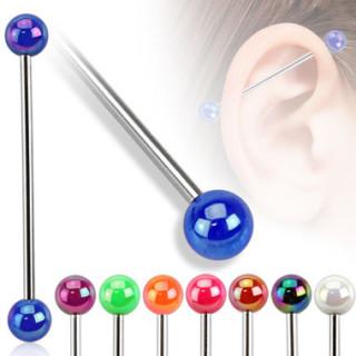 Piercing industriel à boules perlées aspect métallique
