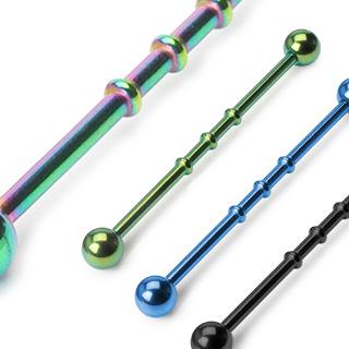 Piercing industriel anodisé titane avec barre perlée