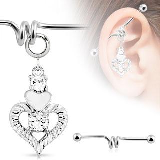 Piercing industriel avec double coeur