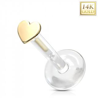 Piercing labret à coeur Or jaune 14 carats et tige bioflex
