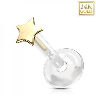 Piercing labret à étoile Or jaune 14 carats et tige bioflex