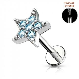 Piercing labret à étoile strass - Bleu aqua (lèvre, cartilage)