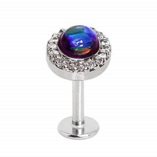 Piercing labret à opale synthétique cerclée de strass