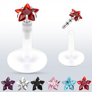 Piercing labret à tige bioflex avec étoile strass