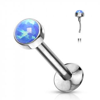 "Piercing labret acier type ""Push In"" serti opale - Bleu"