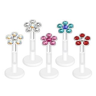 Piercing labret bioflex fleur de zircons