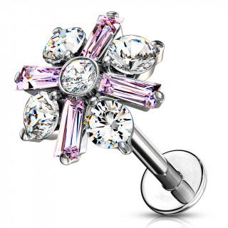 Piercing labret / cartilage croix baptismale - Rose et clair