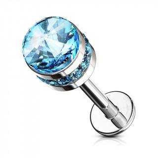 Piercing labret / cartilage cylindre cristal - Bleu aqua