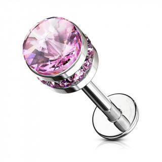 Piercing labret / cartilage cylindre cristal - Rose