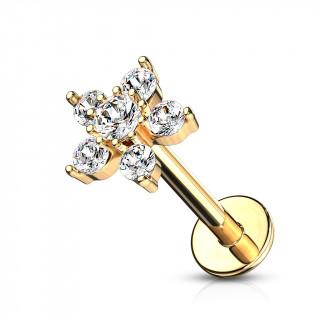 Piercing labret doré à étoile zirconiums (hélix, lobe, lèvre...)