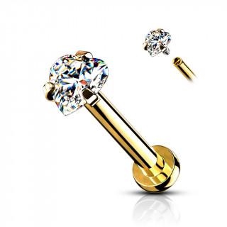 Piercing labret / cartilage doré à pierre coeur