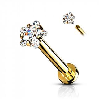 Piercing labret / cartilage doré à pierre étoilée