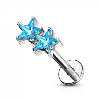 Piercing labret / cartilage duo d'étoiles bleues aqua