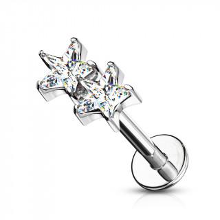 Piercing labret / cartilage duo d'étoiles claires