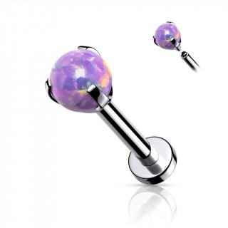 Piercing labret / cartilage en acier à perle d'opale violette (filetage interne)