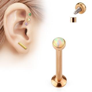Piercing labret cartilage serti opale cuivrée
