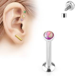 Piercing labret cartilage serti opale rose