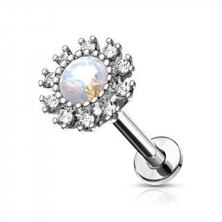 Piercing labret / cartilage soleil strass et opale - Gris