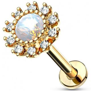 Piercing labret / cartilage soleil strass et opale - Plaqué or