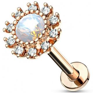 Piercing labret / cartilage soleil strass et opale - Plaqué or rose