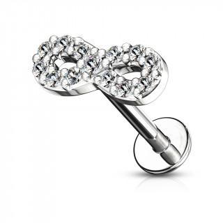 Piercing labret / cartilage symbole infini - Gris