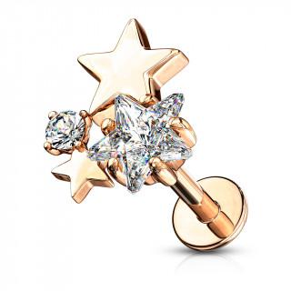 Piercing labret / cartilage trio d'étoiles - Plaqué or rose