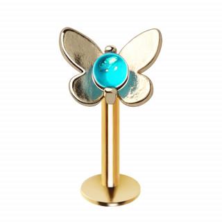 Piercing labret doré papillon et perle bleue