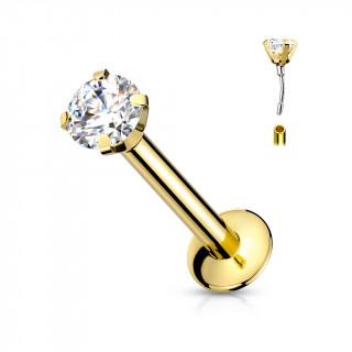 """Piercing labret doré type """"Push In"""" griffé zirconium"""