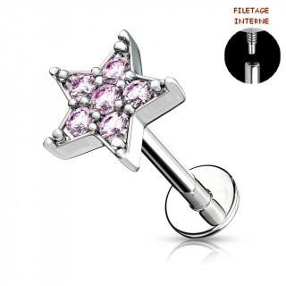 Piercing labret à étoile strass - Rose (lèvre, cartilage)
